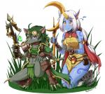 2014 anthro armor banana bandage breasts claws clothed clothing crossbow crossgender duo eating equine eyewear female food fruit goggles grass green_hair hair hooves horn jewelry kneeling league_of_legends long_hair mammal outside pink_eyes plain_background polearm raised_leg ranged_weapon rat rodent skykain smile soraka staff teeth twitch unconvincing_armor unicorn video_games weapon white_background white_hair yellow_eyes   Rating: Safe  Score: 5  User: GameManiac  Date: May 10, 2015