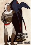 altaïr_ibn-la'ahad armor assassin assassin's_creed avian beak belt boots brown_skin clothed clothing crossover english_text feathered_wings feathers feral footwear fully_clothed gloves hand_on_hip hood human looking_at_another lupie_stardust male mammal medieval nintendo nude outline perched pokéball pokémon pokémon_(species) scar size_difference standing swellow text video_games wings