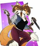 bracelet breasts brown_hair canine cleavage clothed clothing conjoined duo female fox hair jacket jewelry karisha_and_mena knife mammal multi_head multiple_tails orange_eyes pants pointing purple_eyes scarlet-frost shirt sibling smile twins weapon   Rating: Questionable  Score: 5  User: Occam  Date: March 30, 2015