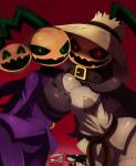 2014 bandage belt big_breasts breasts buckle clothing demon digital_media_(artwork) female green_eyes group halloween hat hi_res holidays horn looking_at_viewer red_eyes rope scarecrow sssonic2 unknown_species   Rating: Safe  Score: 13  User: Mienshao  Date: October 31, 2014