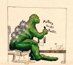 3_toes ambiguous_gender claws cracked crush english_text godzilla godzilla_(series) graffiti green_skin humor kaiju marker marker_(artwork) mixed_media pen_(artwork) sitting solo spines text toe_claws toes toho toilet toilet_paper traditional_media_(artwork) unknown_artist water