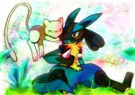 absurd_res blush canine duo hi_res legendary_pokémon lucario mamarocket mammal mew nintendo pokémon video_games  Rating: Safe Score: 13 User: Rad_Dudesman Date: January 15, 2016