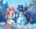 2014 cutie_mark duo equine female feral friendship_is_magic hair happy horn kenket long_hair mammal mountain my_little_pony open_mouth outside pink_hair princess_celestia_(mlp) princess_luna_(mlp) purple_eyes sibling sisters smile snow snowman sophiecabra teal_eyes traditional_media_(artwork) tree winged_unicorn wings winter  Rating: Safe Score: 22 User: Somepony Date: June 27, 2014