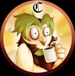 2016 alpha_channel artist-apprentice587 avian beak beverage big_eyes bird coffee coffee_mug cup dartrix green_hair hair holding_cup holding_object humor leaf nintendo owl pokémon simple_background solo steam transparent_background video_games