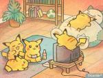 2015 :3 beverage book bookshelf cleft_tail controller digital_media_(artwork) egg eyes_closed female game_controller gaming group holding_controller holding_object inside low_res lying male nintendo open_mouth paleona pikachu plant playing_videogame plushie pokémon pokémon_(species) signature sitting sleeping smile snorlax soda table television video_games yellow_body