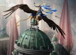 architecture armor atmospheric_perspective avian beak city cityscape cupola duo feathered_wings feathers feral gryphon holding_object holding_weapon human johannes_voss knight looking_away magic_the_gathering mammal melee_weapon official_art on_top on_top_of polearm riding saddle spear spread_wings standing weapon wings  Rating: Safe Score: 4 User: Circeus Date: April 21, 2016