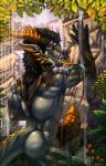 2016 against_wall aohren black_hair black_scales black_sclera claws danza detailed_background dragon fangs forest forked_tongue grin hair hi_res horn huge_penis lake long_tongue looking_at_viewer looking_back male mountain muscular muscular_male orange_eyes penis rear_view reptile scales scalie sharp_teeth slit_pupils solo stones teeth toe_claws tongue tree water waterfall wet  Rating: Explicit Score: 25 User: Just_Another_Dragon Date: April 07, 2016