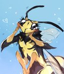 4_arms 4_wings <3 antennae_(anatomy) anthro arthropod black_body black_eyes black_sclera blush female fireflufferz hi_res hymenopteran insect insect_wings multi_arm multi_limb multi_wing multicolored_body redraw solo two_tone_body wasp wings yellow_body