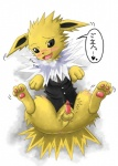 <3 anus blush bottomless butt censored clothed clothed_feral clothing cub eeveelution erection fangs feral fur grey_eyes hindpaw jolteon kaze_tsubasa male nintendo paws penis pokémon pokémon_(species) solo video_games yellow_fur youngRating: ExplicitScore: 3User: Kitsu~Date: July 20, 2009