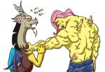 2013 angry anthro antlers black_hair brown_fur clothing cutie_mark discord_(mlp) draconequus duo equine eyes_closed feathered_wings feathers female feral fluttershy_(mlp) friendship_is_magic fur grey_fur hair hi_res horn hyper hyper_muscles male mammal mrs1989 muscular my_little_pony nervous pegasus pink_hair red_eyes simple_background sweat text translated vein white_background wings yellow_feathers yellow_skin  Rating: Safe Score: 1 User: ConsciousDonkey Date: February 03, 2016