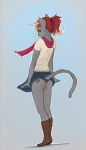 2013 anthro ashley_robin boots butt cat clothed clothing clothing_lift feline female footwear full-length_portrait fur green_eyes grey_fur hair mammal oonami panties ponytail portrait red_hair scarf shirt skirt skirt_lift solo standing underwear