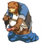 balls bear blush brown_fur clothed clothing erection fur juuichi_mikazuki kotobuki529 low_res male mammal morenatsu pants pants_down partially_clothed penis simple_background solo white_background  Rating: Explicit Score: 1 User: drafan5 Date: July 22, 2015