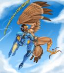 anthro armor avian beak bird breasts brown_hair catchabird clothing female hair hawk machine muscular muscular_female overwatch pharah_(overwatch) power_armor pussy talons torn_clothing transformation video_games wardrobe_malfunction wings