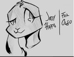 anthro black_and_white black_markings disney female fur grey_body grey_fur headshot_portrait judy_hopps lagomorph leporid mammal markings monochrome portrait rabbit simple_background smile solo solo_focus y-h-tokk zootopia