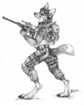 2014 backpack canine collaboration coyote coyox eyewear goggles gun knee_pads knife male mammal monochrome qzurr ranged_weapon smirk solo standing traditional_media_(artwork) weapon   Rating: Safe  Score: 12  User: Kaik  Date: January 06, 2015