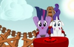 absurd_res blackgryph0n cloud duo equine female feral friendship_is_magic hi_res horn mammal my_little_pony outside rail rarity_(mlp) roller_coaster sky sun train_tracks twilight_sparkle_(mlp) unicorn wood   Rating: Safe  Score: 6  User: Sora_Replica  Date: September 03, 2012