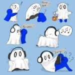 ! ? ambiguous_gender anthro blush bulge candy colorful confusion costume cute da~blueguy english_text eyes_closed food frown ghost headphones hug male male/ambiguous male_prey music napstablook oral_vore same_size simple_background spirit surprise text tongue undertale unwilling_pred video_games vore