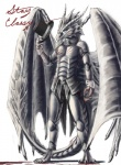 anthro armor blacktalons blood classy claws dragon english_text eyewear hat holding_hat horn male membranous_wings monocle scalie solo standing stay_classy text top_hat wings