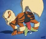 after_sex anal anatomically_correct anatomically_correct_penis anus arcanine averyfondoreo big_dom_small_sub clitoris cum cum_in_ass cum_in_pussy cum_inside cum_on_body female gaping gaping_anus gaping_pussy larger_male larvitar male nintendo penis pokémon pokémon_(species) pussy rear_view simple_background size_difference smaller_female vaginal video_games