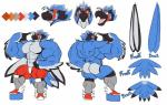 abs anthro avian beak biceps big_pecs butt clothed clothing demondragoncyan english_text huge_muscles male model_sheet muscular muscular_male pecs penis simple_background solo text topless white_backgroundRating: QuestionableScore: 0User: 123d123Date: May 22, 2018