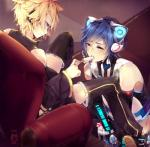 ambiguous_gender animal_humanoid armwear blonde_hair blue_eyes blue_hair cat_humanoid chair clothed clothing cybernetics cyborg detached_sleeves detailed_background dripping duo eating elbow_gloves eye_contact feeding feline food footwear fully_clothed gloves hair high-angle_view holding_food holding_object humanoid inside kaito_(vocaloid) kamochiruu kneeling legwear len_kagamine machine male mammal open_mouth popsicle robot saliva shirt shoes shorts sitting spread_legs spreading suggestive suggestive_food thigh_highs tongue vocaloidRating: SafeScore: 4User: SnowWolfDate: January 25, 2018
