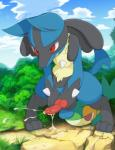 ambiguous_gender animal_genitalia animal_penis anthro balls barefoot canine canine_penis cum cum_on_ground cum_on_penis cum_string cumshot ejaculation erection fangs fur hi_res knot knot_grab long_ears lucario lying male mammal masturbation nintendo nude on_front on_ground orgasm outside penis pokémon pokémon_(species) red_eyes red_penis snivy solo spikes standing tricksta under video_gamesRating: ExplicitScore: 77User: DatDAMNDergDate: April 18, 2018