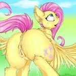 2019 anus blush butt cum cum_on_body cutie_mark equid equine feathered_wings feathers female feral fluttershy_(mlp) friendship_is_magic hair kianara looking_up mammal my_little_pony pterippus pussy solo wings