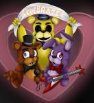 00kaori00 animatronic bear bonnie_(fnaf) bow_tie five_nights_at_freddy's freddy_(fnaf) golden_freddy_(fnaf) group hat lagomorph machine male mammal mechanical rabbit robot top_hat video_games   Rating: Safe  Score: 1  User: Vallizo  Date: May 20, 2015