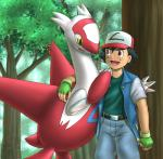 ash_ketchum belt black_hair brown_eyes dragon female gloves hair hat human latias legendary_pokémon male mammal mykiio nintendo open_mouth outside pokémon red_feathers tongue tree video_games white_feathers yellow_eyes   Rating: Safe  Score: 6  User: DeltaFlame  Date: February 22, 2015