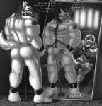 abs angry anthro bulge butt canine chain clothing duo escafanatic421 foster-tony greyscale loincloth male male/male mammal mirror monochrome muscular muzzle_(object) muzzled pecs reflection slave submissive tattoo text wolf