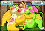 2017 ampharos anthro big_breasts blush breasts female hair mammal meganium navel navel_rim nintendo nipples nude plant pokémon pussy slightly_chubby sweat video_games ymbk