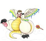 2020 absurd_res allbadbadgers animate_inanimate anthro claws crossgender dragon feathered_wings feathers flammie gender_transformation goo_transformation hi_res hypnosis inflatable inflation living_inflatable mana_(series) mind_control on_one_leg pawpads rubber shocked simple_background solo square_enix standing thick_thighs transformation video_games white_background wings