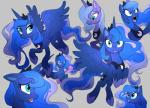 2016 blue_hair crown cutie_mark equine expressions eyes_closed feathered_wings feathers female feral friendship_is_magic grey_background hair hi_res horn jewelry long_hair looking_at_viewer mammal my_little_pony necklace open_mouth princess_luna_(mlp) shira-hedgie simple_background smile solo spread_wings winged_unicorn wings  Rating: Safe Score: 17 User: Egekilde Date: April 26, 2016