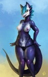 anthro blue_hair breasts butt clothing female gradient_background hair lizard nipples open_mouth panties presenting pussy reptile scalie smile solo spikes standing tongue underwear undressing yellow_eyes zerolativity   Rating: Explicit  Score: 31  User: BirdButt  Date: September 29, 2014