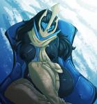 2015 abstract_background anthro avante92 avian big_breasts bird black_hair blue_eyes breasts butt chair clothing empoleon female hair hi_res legwear long_hair looking_at_viewer nintendo nipples penguin pokémon scarf simple_background sitting smile solo video_games  Rating: Questionable Score: 23 User: ultragamer89 Date: February 23, 2016