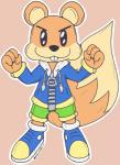 2015 >:3 anthro beady_eyes big_tail border brown_fur buckteeth clothed clothing colorful conker conker's_bad_fur_day cute fluffy fluffy_tail footwear front_view fully_clothed fur hi_res jacket looking_at_viewer male mammal neonlink nintendo nintendo_64 outline pants pink_background rare rareware rodent shoes simple_background smile solo squirrel standing tan_fur teeth video_games