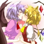 animal_ears bat_wings blonde_hair clothing crystal eye_contact fangs female flandre_scarlet french_kissing hair incest kissing lesbian red_eyes remilia_scarlet saliva short_hair sibling side_ponytail silver_hair sister soubi touhou vampire wings wolf_ears   Rating: Questionable  Score: 2  User: Fluttershy  Date: January 27, 2014