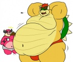 ... anthro armpits bald beige_skin belly_overhang biceps boar bowser bulge clothed clothing coffee cup dialogue duo english_text erection eyes_closed hair half-dressed horn hyper_obese japanese koopa luigiman male male/male mammal mario_and_luigi:_bowser's_inside_story mario_and_luigi_(series) mario_bros midbus moobs morbidly_obese muscles navel nintendo o3o open_mouth overweight penis pink_nose pink_skin plain_background porcine raised_arm red_hair red_skin reptile saliva scalie shell shocked short_hair size_difference speedo spikes standing swimsuit text tongue turtle underwear video_games white_background yellow_skin   Rating: Questionable  Score: 11  User: WiiFitTrainer  Date: June 30, 2013