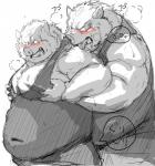 2015 barazoku blush boar clothed clothing dragon_quest drooling duo from_behind_(disambiguation) fully_clothed greyscale grope japanese_text kemono kotobuki licking male male/male mammal monochrome muscular obese overweight porcine saliva shirt simple_background steam sweat tank_top text tongue tongue_out video_games white_background