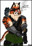 assault_rifle cigar colored eye_patch eyewear fan_character felid final_space flat_colors fur green_eyes grenade_launcher grin gun hi_res male mammal muscular muscular_male neck_tuft orange_body orange_fur pouches ranged_weapon rifle rocato scar skianous smile smoking solo spots stripes tally_marks thanks_i_hate_it tuft ventrexian weapon