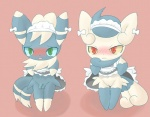 2015 anthro blue_fur blue_sclera blush clothed clothing crossdressing duo embarrassed exposed female fur girly green_eyes kinomy looking_at_viewer maid_uniform male meowstic navel nintendo open_mouth penis pink_background plain_background pokémon pussy red_eyes ribbons standing tears video_games white_fur yellow_sclera   Rating: Explicit  Score: 11  User: Granberia  Date: April 21, 2015