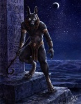 anthro anubian_jackal anubis blotch canine cool_colors deity desert ear_piercing egyptian glowing_eyes headdress jackal loincloth looking_at_viewer male mammal moon night outside piercing polearm sky solo staff topless   Rating: Safe  Score: 25  User: beartraps  Date: December 19, 2013