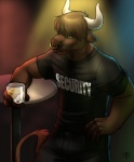 alcohol anthro bar beverage bottomwear bouncer bovid bovine brown_fur cattle clothed clothing digital_media_(artwork) facial_piercing fully_clothed fur glass green_eyes hi_res holding_glass holding_object horn lights male mammal nose_piercing nose_ring pants piercing security septum_piercing shirt solo strider_auroch table the_spiner topwear vallhundRating: SafeScore: 29User: NumerothDate: August 11, 2013