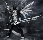 abs anthro biceps black_fur black_hair blue_eyes discordnight fur hair looking_at_viewer male muscles necklace racoonwolf science_fiction sergal   Rating: Safe  Score: 0  User: DiscordKnight  Date: March 26, 2015