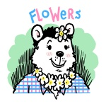 badge bear black_hair blush clothing eyelashes flower flowers_(character) hair looking_at_viewer marcothecat polar_bear shirt smile solo   Rating: Safe  Score: 1  User: Flowers  Date: June 29, 2013