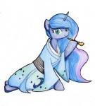 2014 blue_eyes blue_hair clothing conbudou equine female friendship_is_magic fur hair horn mammal my_little_pony plain_background princess_luna_(mlp) smile solo traditional_media_(artwork) unicorn   Rating: Safe  Score: 6  User: LoneyBit  Date: April 20, 2015