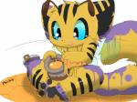 :d arthropod bee bucket cub feline honey hybrid insect jar male mammal presto_(artist) solo tiger wings young  Rating: Questionable Score: 2 User: israfell Date: October 22, 2015