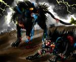 ambiguous_gender bleeding_eyes blood bone duo feline feral fur gore lightning lion luxray mammal nightmare_fuel nintendo open_mouth outside pokemonfromhell pokémon sharp_teeth teeth video_games yellow_eyes  Rating: Questionable Score: 2 User: ThatOnePorcupine Date: August 19, 2014
