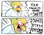 2015 alphys angry anthro blush dialogue english_text eyewear female glasses lab_coat lizard lol_comments niiikooooo open_mouth parody reaction_image reptile scales scalie solo speech_bubble sweat text the_truth undertale video_games yellow_scales