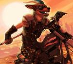 anthro armor biped canine city clothed clothing day digital_media_(artwork) eyewear facial_hair fighterjet fox gloves goatee goggles hair horn hybrid male mammal melee_weapon motorcycle open_mouth outside post-apocalyptic road rubble ruins sky smile solo sun sunset teeth tongue weapon  Rating: Safe Score: 15 User: Ammunition Date: April 24, 2016